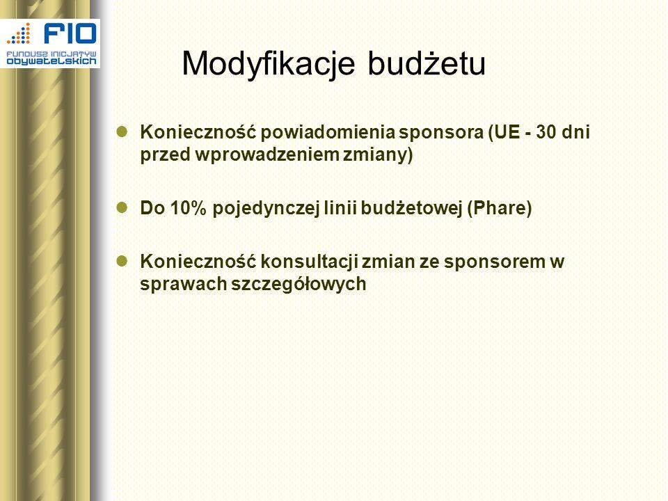 Modyfikacje budżetu Konieczność powiadomienia sponsora (UE - 30 dni przed wprowadzeniem zmiany) Do 10% pojedynczej linii budżetowej (Phare) Koniecznoś