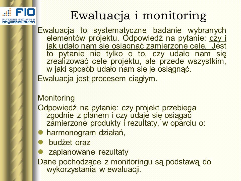 Ewaluacja i monitoring Ewaluacja to systematyczne badanie wybranych elementów projektu. Odpowiedź na pytanie: czy i jak udało nam się osiągnąć zamierz