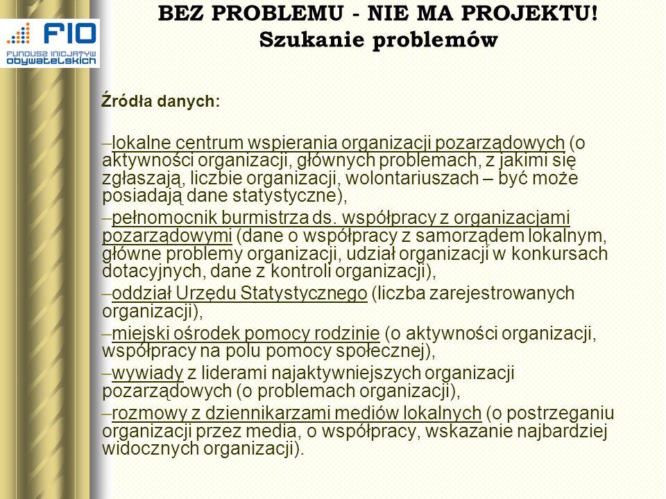 BEZ PROBLEMU - NIE MA PROJEKTU! Szukanie problemów Źródła danych: –lokalne centrum wspierania organizacji pozarządowych (o aktywności organizacji, głó