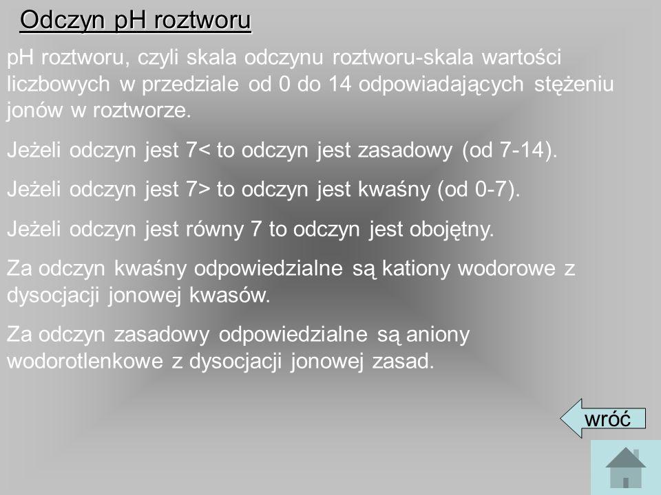 Określenie odczynu pH w roztworachSubstancja (roztwór)pH Sok żołądkowy1,0-1,8 Cytryny2,2-2,4 Jabłka2,9-3,3 Kapusta kiszona3,4-3,6 Mocz4,0-8,0 Biały chleb5,0-6,0 Krew ludzka7,35-7,45 Płyn mózgowo-rdzeniowy7,35-7,60 Sok trzustkowy8,0-8,3 wróć