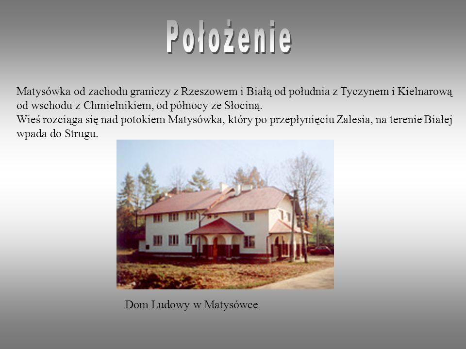 Matysówka od zachodu graniczy z Rzeszowem i Białą od południa z Tyczynem i Kielnarową od wschodu z Chmielnikiem, od północy ze Słociną.