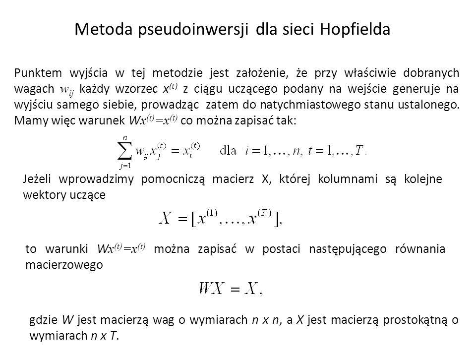 Metoda pseudoinwersji dla sieci Hopfielda Punktem wyjścia w tej metodzie jest założenie, że przy właściwie dobranych wagach w ij każdy wzorzec x (t) z