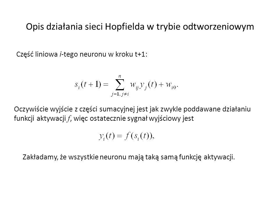 Opis działania sieci Hopfielda w trybie odtworzeniowym Część liniowa i-tego neuronu w kroku t+1: Oczywiście wyjście z części sumacyjnej jest jak zwykl