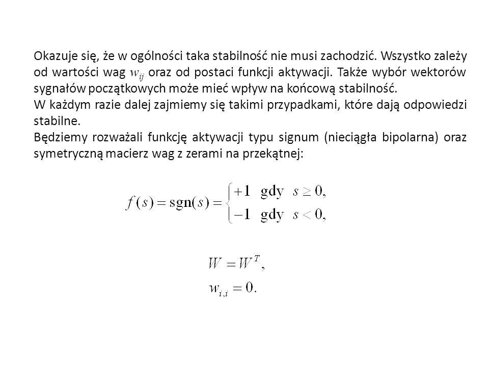 Okazuje się, że w ogólności taka stabilność nie musi zachodzić. Wszystko zależy od wartości wag w ij oraz od postaci funkcji aktywacji. Także wybór we
