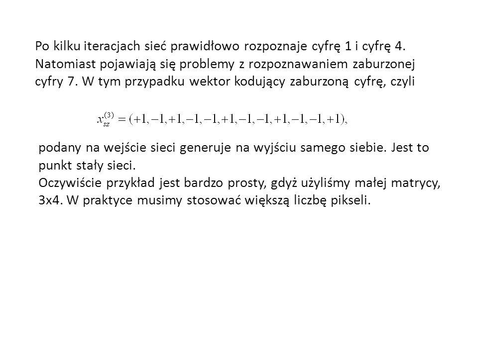 Po kilku iteracjach sieć prawidłowo rozpoznaje cyfrę 1 i cyfrę 4. Natomiast pojawiają się problemy z rozpoznawaniem zaburzonej cyfry 7. W tym przypadk