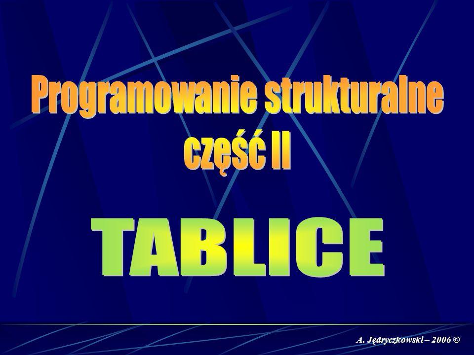 Tablica to struktura danych zawierająca zbiór obiektów tego samego typu i odpowiada matematycznemu pojęciu wektora (tablica jednowymiarowa), macierzy (tablica dwuwymiarowa), itp...