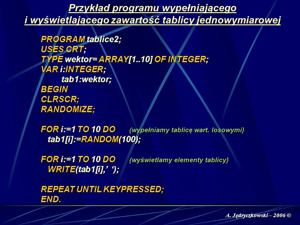 A. Jędryczkowski – 2006 © Przykład programu wypełniającego i wyświetlającego zawartość tablicy jednowymiarowej PROGRAM tablice2; USES CRT; TYPE wektor