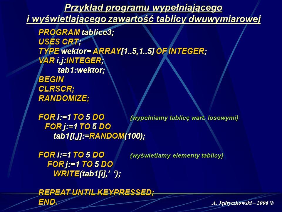 A. Jędryczkowski – 2006 © Przykład programu wypełniającego i wyświetlającego zawartość tablicy dwuwymiarowej PROGRAM tablice3; USES CRT; TYPE wektor=