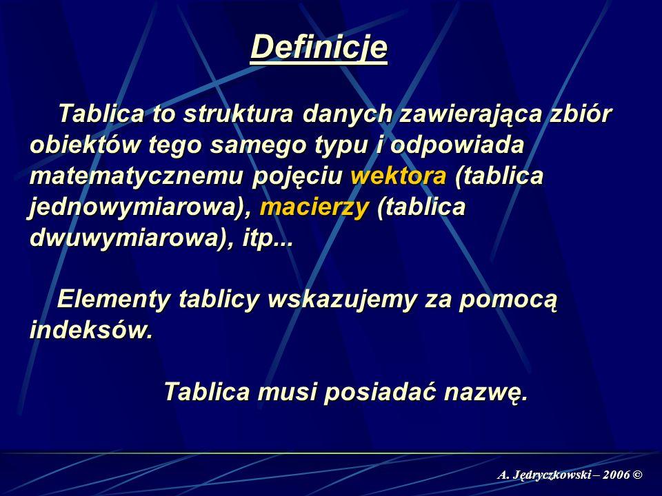 Tablica to struktura danych zawierająca zbiór obiektów tego samego typu i odpowiada matematycznemu pojęciu wektora (tablica jednowymiarowa), macierzy