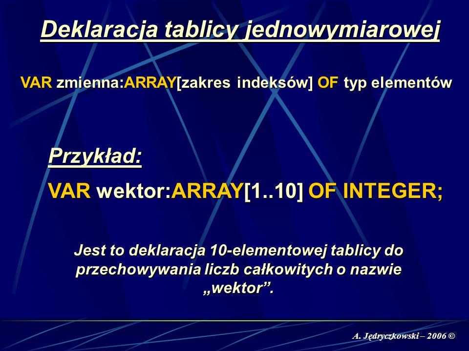 A. Jędryczkowski – 2006 © Deklaracja tablicy jednowymiarowej VAR zmienna:ARRAY[zakres indeksów] OF typ elementów Przykład: VAR wektor:ARRAY[1..10] OF