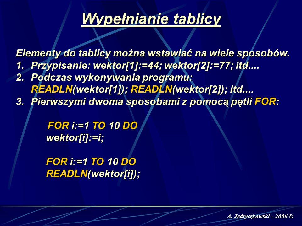 A. Jędryczkowski – 2006 © Wypełnianie tablicy Elementy do tablicy można wstawiać na wiele sposobów. 1.Przypisanie: wektor[1]:=44; wektor[2]:=77; itd..