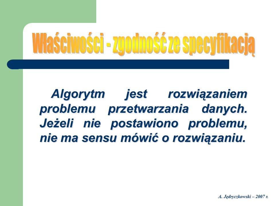 A. Jędryczkowski – 2007 r. Algorytm jest rozwiązaniem problemu przetwarzania danych. Jeżeli nie postawiono problemu, nie ma sensu mówić o rozwiązaniu.