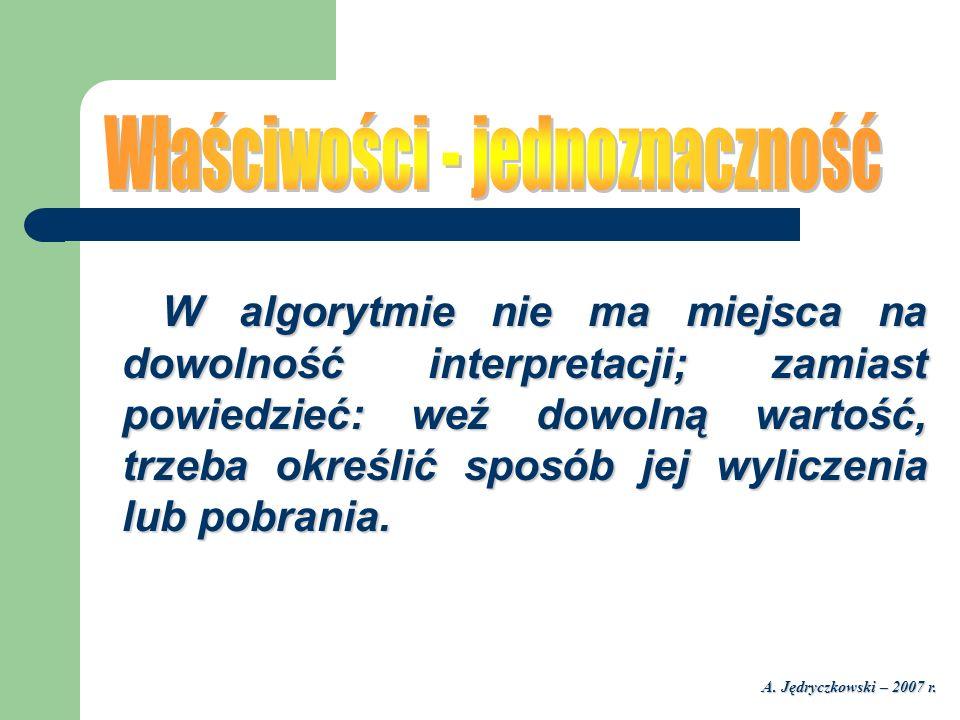 A. Jędryczkowski – 2007 r. W algorytmie nie ma miejsca na dowolność interpretacji; zamiast powiedzieć: weź dowolną wartość, trzeba określić sposób jej