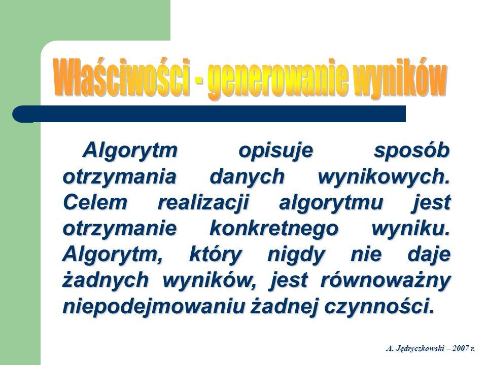 A. Jędryczkowski – 2007 r. Algorytm opisuje sposób otrzymania danych wynikowych. Celem realizacji algorytmu jest otrzymanie konkretnego wyniku. Algory