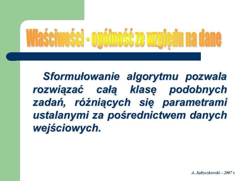 A. Jędryczkowski – 2007 r. Sformułowanie algorytmu pozwala rozwiązać całą klasę podobnych zadań, różniących się parametrami ustalanymi za pośrednictwe