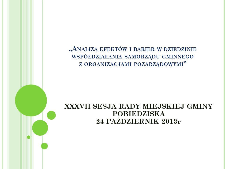 A NALIZA EFEKTÓW I BARIER W DZIEDZINIE WSPÓŁDZIAŁANIA SAMORZĄDU GMINNEGO Z ORGANIZACJAMI POZARZĄDOWYMI XXXVII SESJA RADY MIEJSKIEJ GMINY POBIEDZISKA 24 PAŹDZIERNIK 2013r