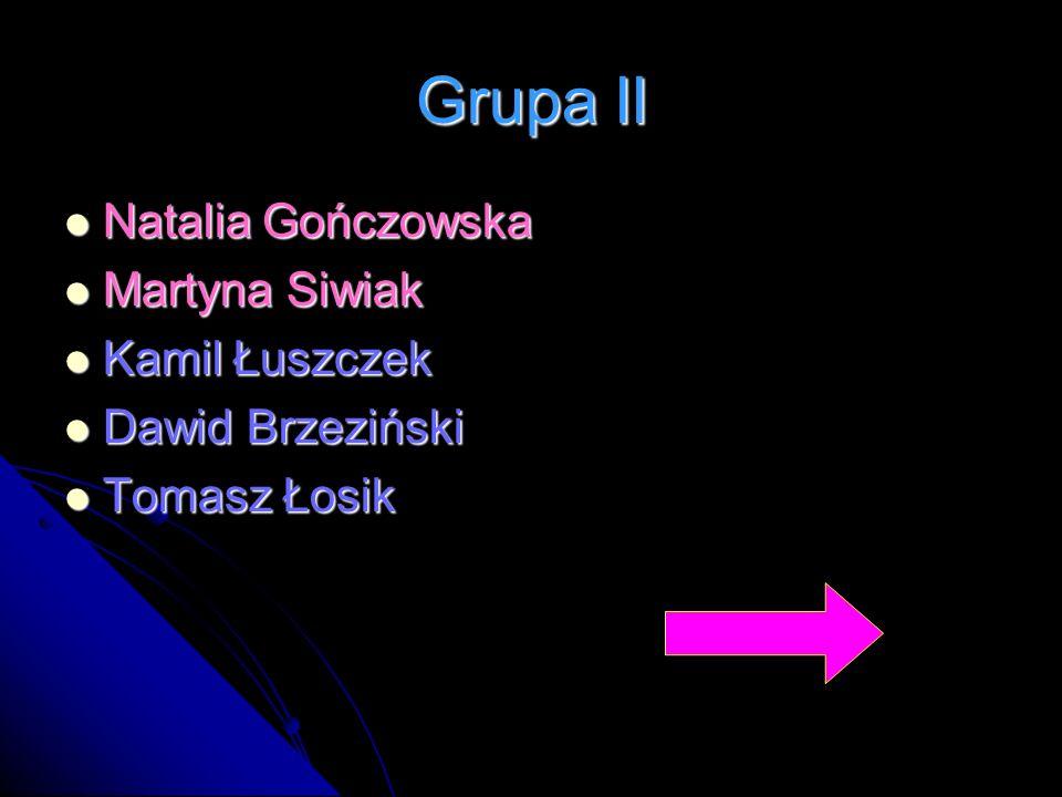 Grupa II Natalia Gończowska Natalia Gończowska Martyna Siwiak Martyna Siwiak Kamil Łuszczek Kamil Łuszczek Dawid Brzeziński Dawid Brzeziński Tomasz Ło