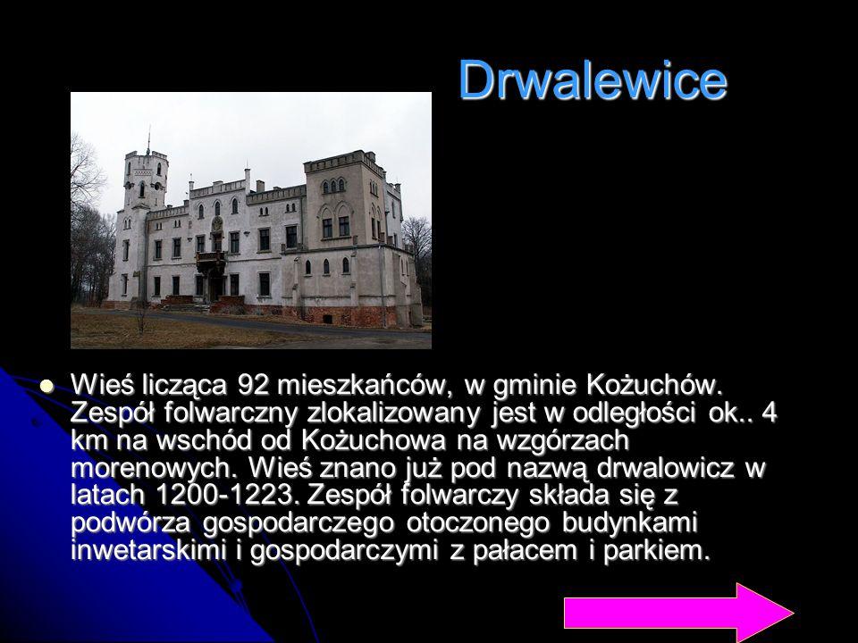 Drwalewice Wieś licząca 92 mieszkańców, w gminie Kożuchów. Zespół folwarczny zlokalizowany jest w odległości ok.. 4 km na wschód od Kożuchowa na wzgór