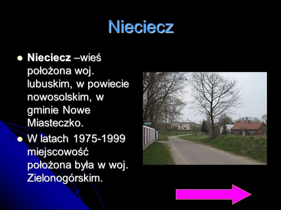 Nieciecz Nieciecz –wieś położona woj. lubuskim, w powiecie nowosolskim, w gminie Nowe Miasteczko. Nieciecz –wieś położona woj. lubuskim, w powiecie no