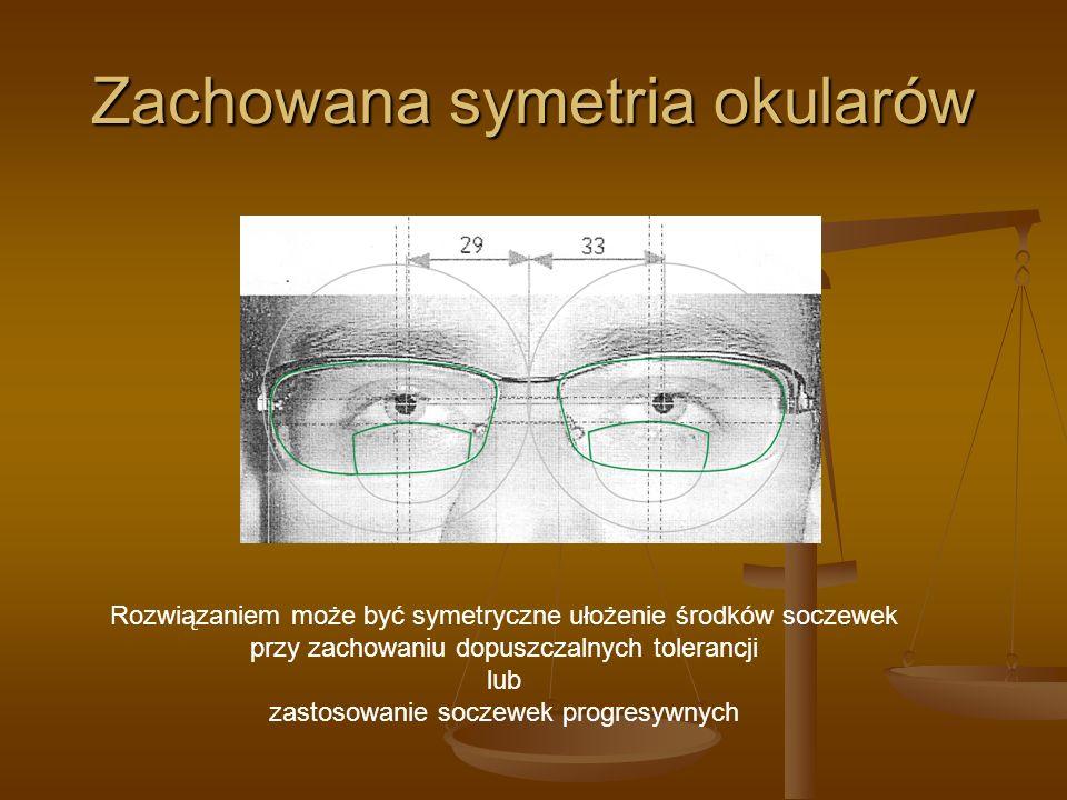 Zachowana symetria okularów Rozwiązaniem może być symetryczne ułożenie środków soczewek przy zachowaniu dopuszczalnych tolerancji lub zastosowanie soc
