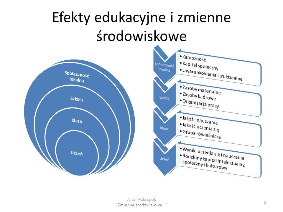Efekty edukacyjne i zmienne środowiskowe 5 Artur Pokropek Zmienne środowiskowe…