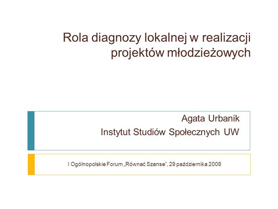 Rola diagnozy lokalnej w realizacji projektów młodzieżowych Agata Urbanik Instytut Studiów Społecznych UW I Ogólnopolskie Forum Równać Szanse, 29 października 2009