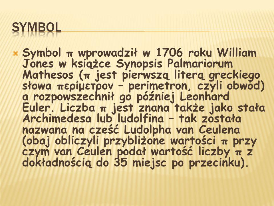 Symbol π wprowadził w 1706 roku William Jones w książce Synopsis Palmariorum Mathesos (π jest pierwszą literą greckiego słowa περίμετρον – perimetron,