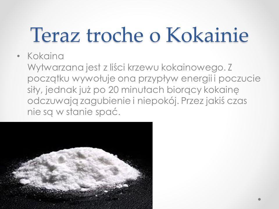 Teraz troche o Kokainie Kokaina Wytwarzana jest z liści krzewu kokainowego. Z początku wywołuje ona przypływ energii i poczucie siły, jednak już po 20