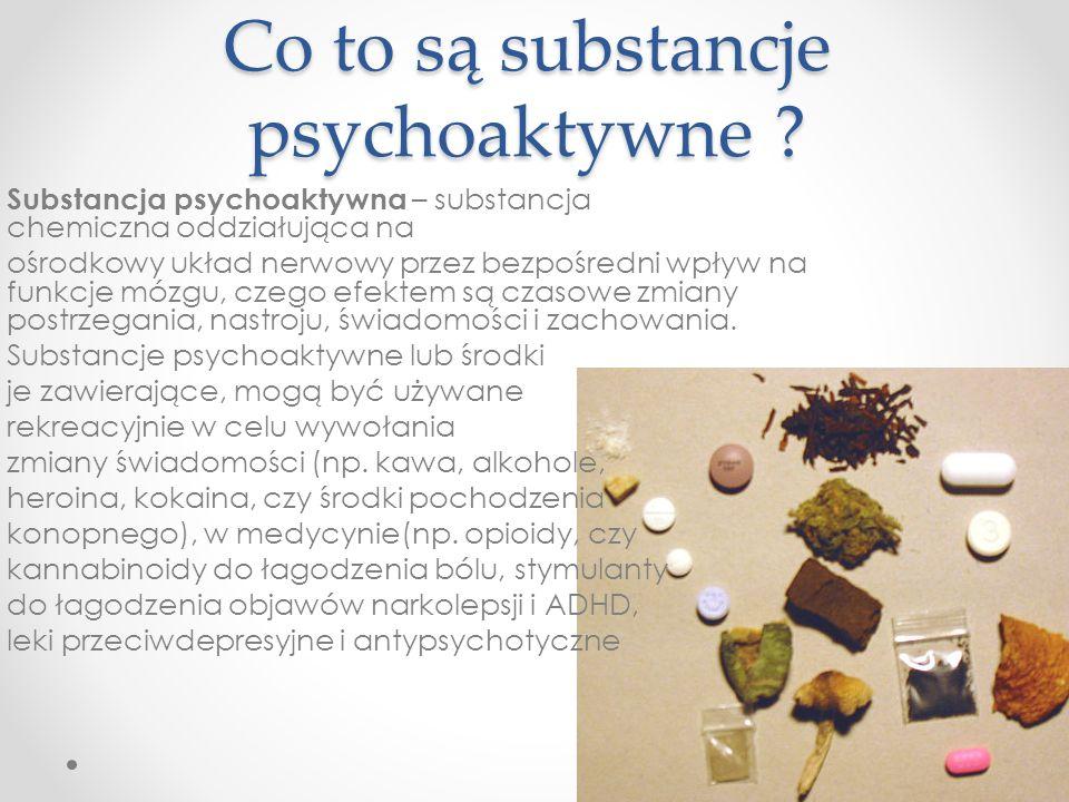 Co to są substancje psychoaktywne ? Substancja psychoaktywna – substancja chemiczna oddziałująca na ośrodkowy układ nerwowy przez bezpośredni wpływ na