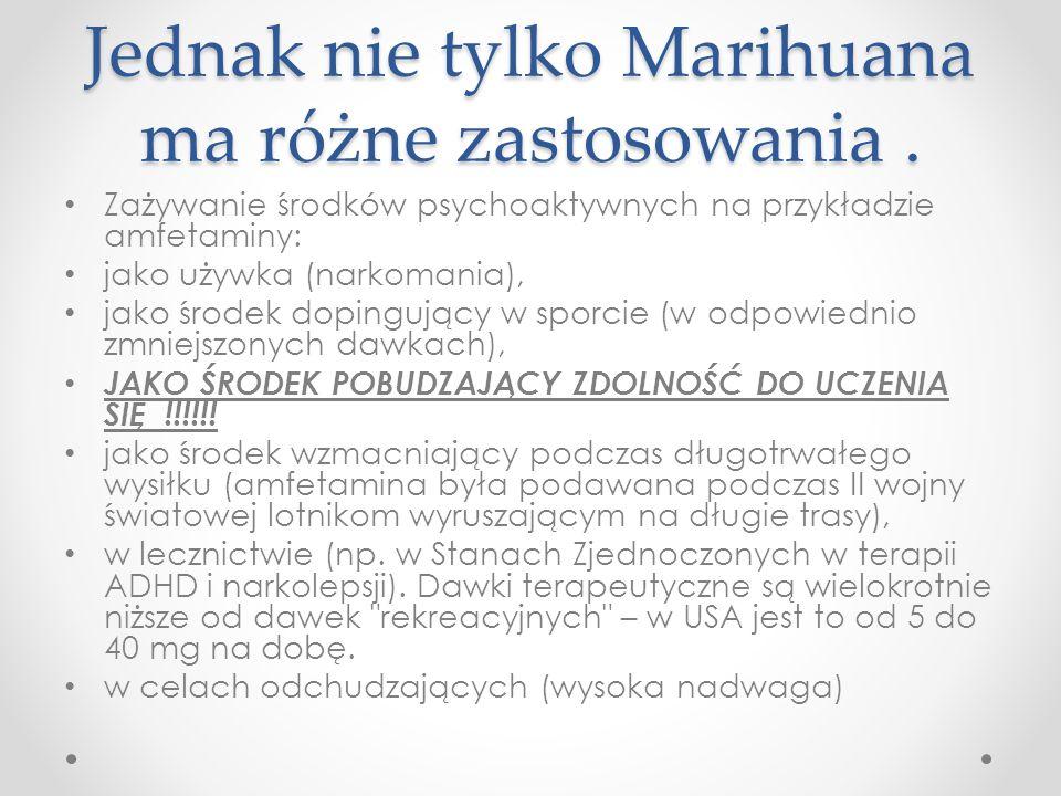 Jednak nie tylko Marihuana ma różne zastosowania. Zażywanie środków psychoaktywnych na przykładzie amfetaminy: jako używka (narkomania), jako środek d
