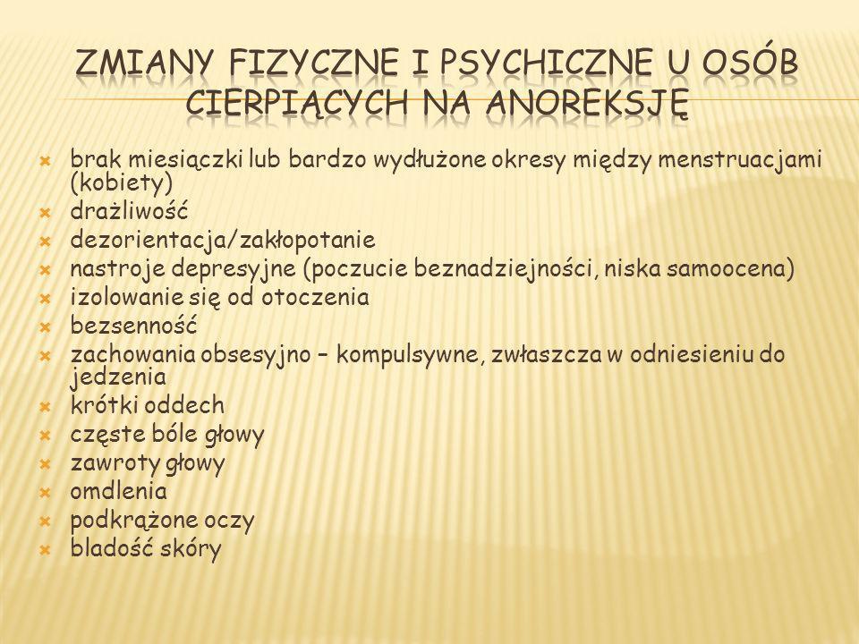 brak miesiączki lub bardzo wydłużone okresy między menstruacjami (kobiety) drażliwość dezorientacja/zakłopotanie nastroje depresyjne (poczucie beznadz