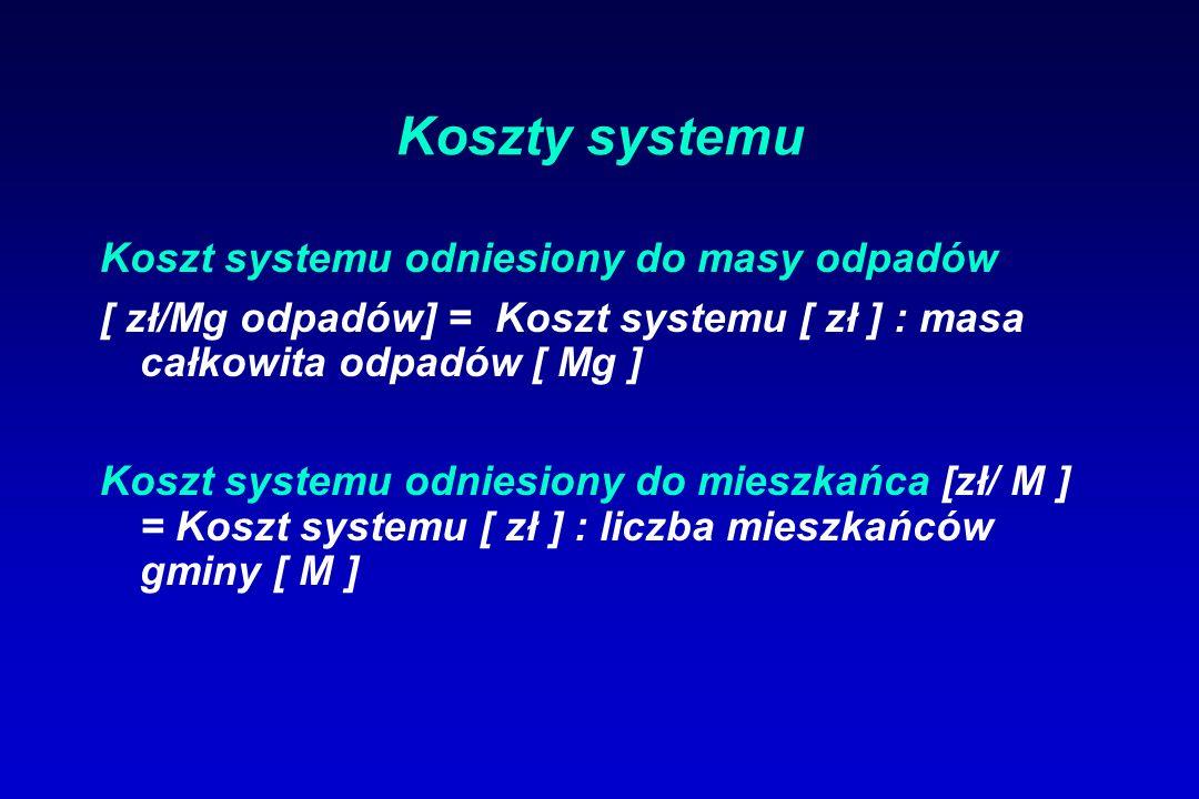 Koszty systemu Koszt systemu odniesiony do masy odpadów [ zł/Mg odpadów] = Koszt systemu [ zł ] : masa całkowita odpadów [ Mg ] Koszt systemu odniesiony do mieszkańca [zł/ M ] = Koszt systemu [ zł ] : liczba mieszkańców gminy [ M ]