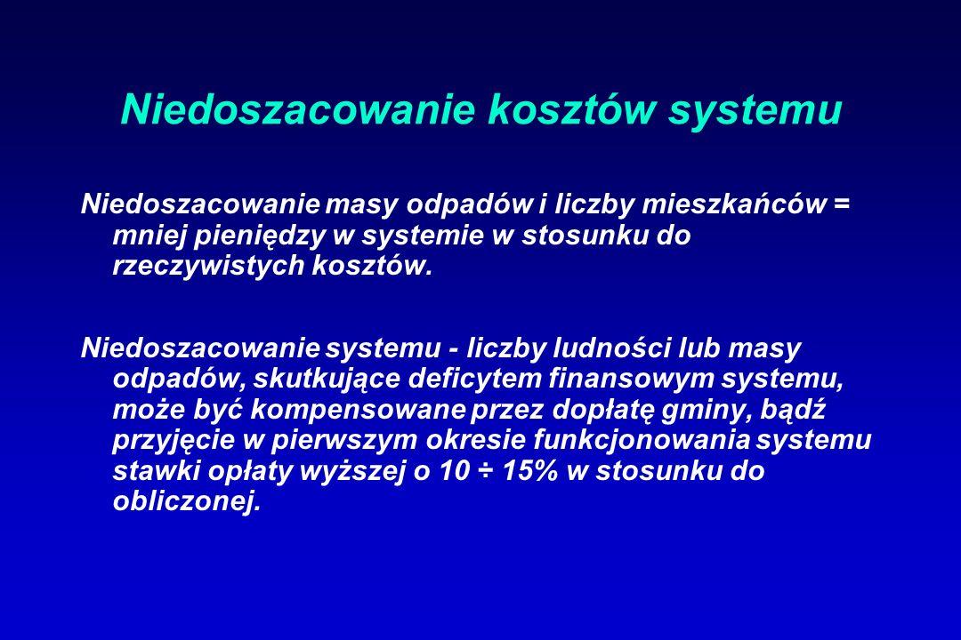 Niedoszacowanie kosztów systemu Niedoszacowanie masy odpadów i liczby mieszkańców = mniej pieniędzy w systemie w stosunku do rzeczywistych kosztów.