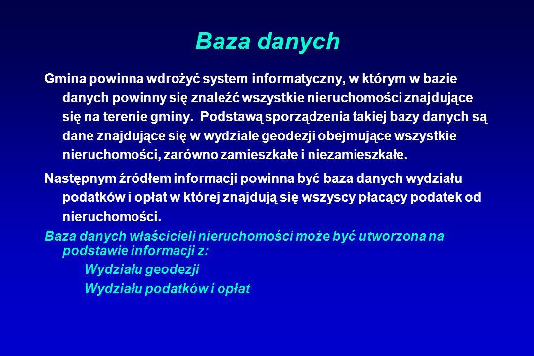Baza danych Gmina powinna wdrożyć system informatyczny, w którym w bazie danych powinny się znaleźć wszystkie nieruchomości znajdujące się na terenie gminy.