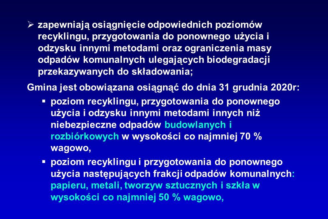 zapewniają osiągnięcie odpowiednich poziomów recyklingu, przygotowania do ponownego użycia i odzysku innymi metodami oraz ograniczenia masy odpadów komunalnych ulegających biodegradacji przekazywanych do składowania; Gmina jest obowiązana osiągnąć do dnia 31 grudnia 2020r: poziom recyklingu, przygotowania do ponownego użycia i odzysku innymi metodami innych niż niebezpieczne odpadów budowlanych i rozbiórkowych w wysokości co najmniej 70 % wagowo, poziom recyklingu i przygotowania do ponownego użycia następujących frakcji odpadów komunalnych: papieru, metali, tworzyw sztucznych i szkła w wysokości co najmniej 50 % wagowo,