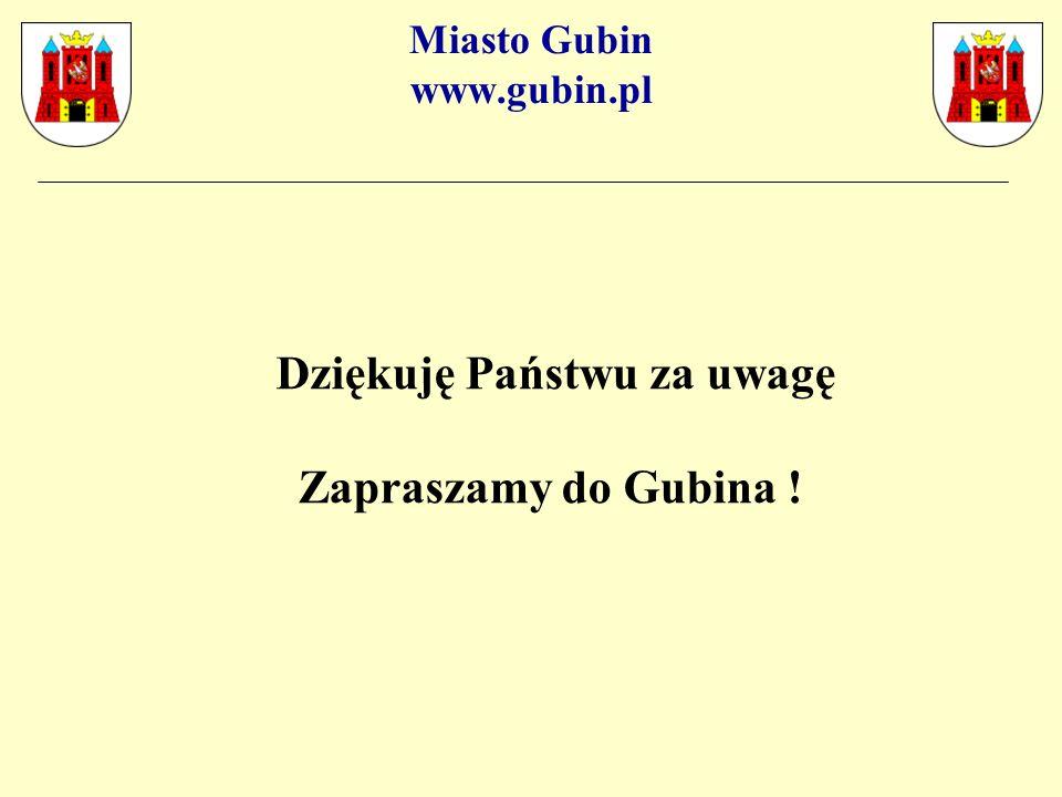 Miasto Gubin www.gubin.pl Dziękuję Państwu za uwagę Zapraszamy do Gubina !