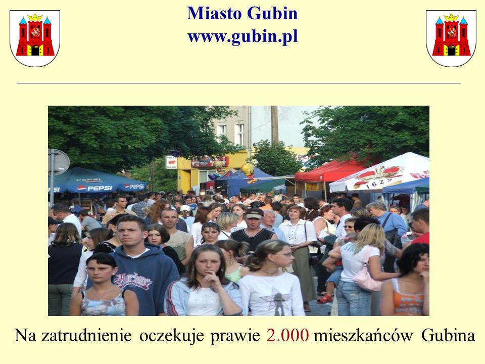 Miasto Gubin www.gubin.pl Na zatrudnienie oczekuje prawie 2.000 mieszkańców Gubina