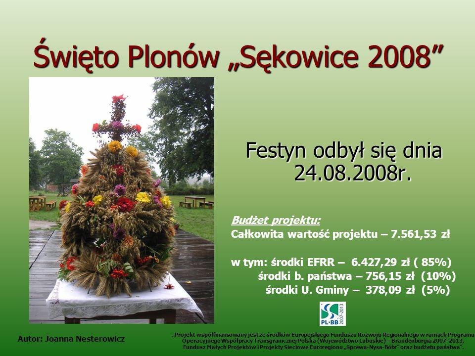 Święto Plonów Sękowice 2008 Festyn odbył się dnia 24.08.2008r. Budżet projektu: Całkowita wartość projektu – 7.561,53 zł w tym: środki EFRR – 6.427,29