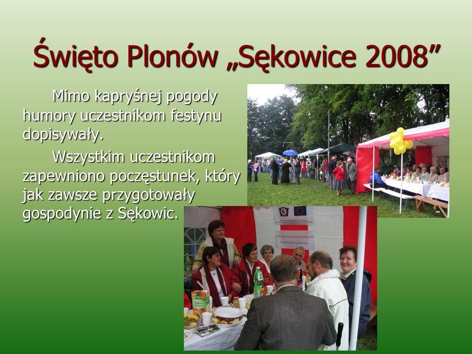 Święto Plonów Sękowice 2008 Mimo kapryśnej pogody humory uczestnikom festynu dopisywały. Wszystkim uczestnikom zapewniono poczęstunek, który jak zawsz