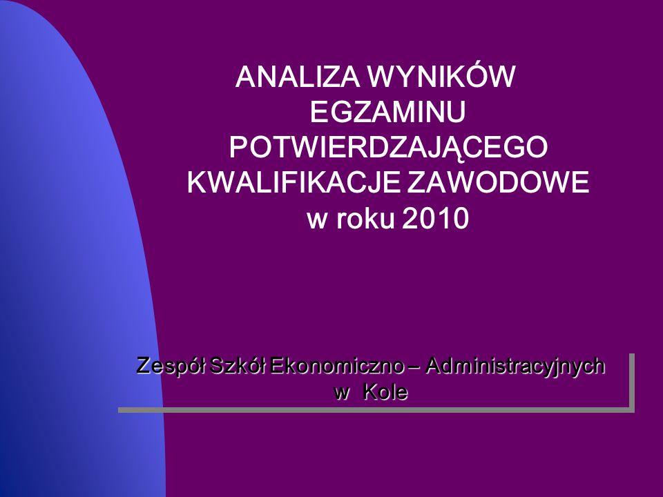 ANALIZA WYNIKÓW EGZAMINU POTWIERDZAJĄCEGO KWALIFIKACJE ZAWODOWE w roku 2010 Zespół Szkół Ekonomiczno – Administracyjnych w Kole