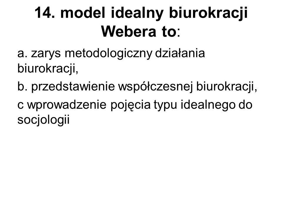 14. model idealny biurokracji Webera to: a. zarys metodologiczny działania biurokracji, b. przedstawienie współczesnej biurokracji, c wprowadzenie poj