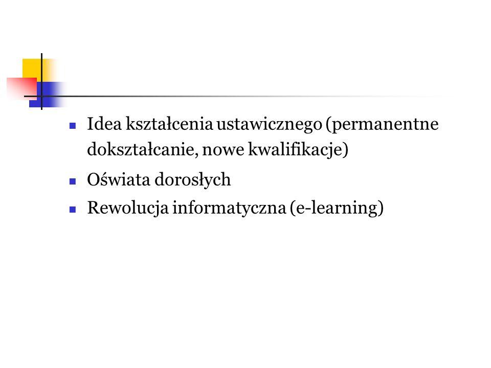 Idea kształcenia ustawicznego (permanentne dokształcanie, nowe kwalifikacje) Oświata dorosłych Rewolucja informatyczna (e-learning)