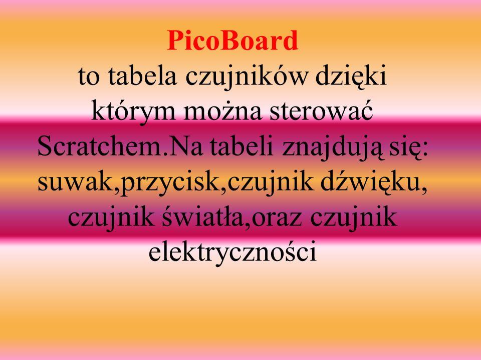 PicoBoard to tabela czujników dzięki którym można sterować Scratchem.Na tabeli znajdują się: suwak,przycisk,czujnik dźwięku, czujnik światła,oraz czujnik elektryczności