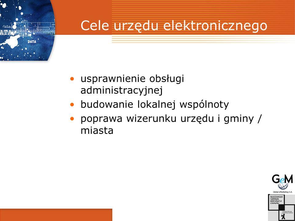 Cele urzędu elektronicznego usprawnienie obsługi administracyjnej budowanie lokalnej wspólnoty poprawa wizerunku urzędu i gminy / miasta
