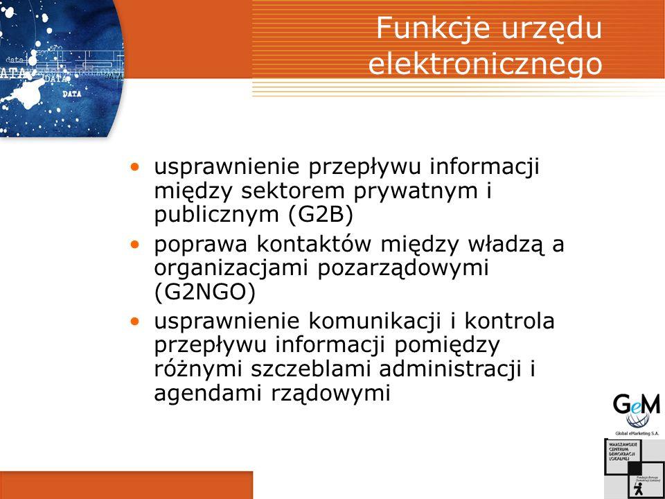 Funkcje urzędu elektronicznego usprawnienie przepływu informacji między sektorem prywatnym i publicznym (G2B) poprawa kontaktów między władzą a organizacjami pozarządowymi (G2NGO) usprawnienie komunikacji i kontrola przepływu informacji pomiędzy różnymi szczeblami administracji i agendami rządowymi