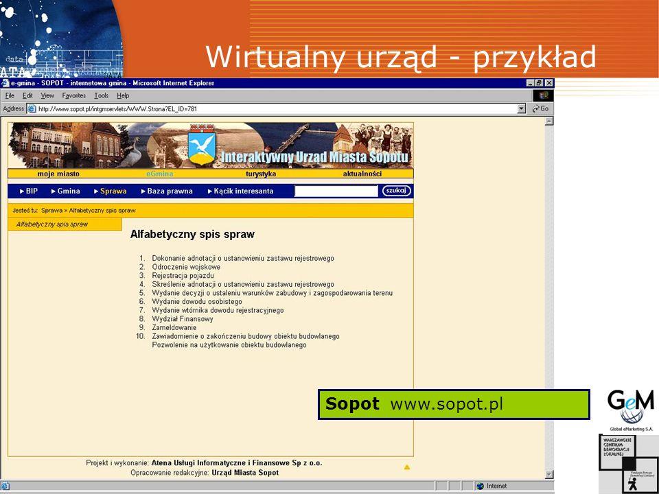 Wirtualny urząd - przykład Sopot www.sopot.pl