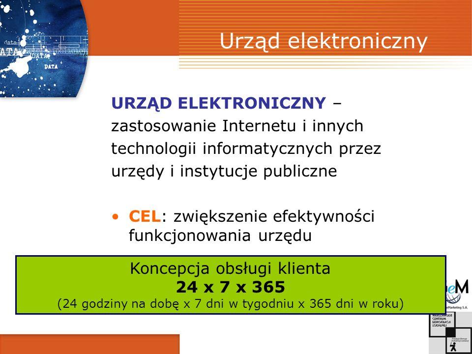Urząd elektroniczny URZĄD ELEKTRONICZNY – zastosowanie Internetu i innych technologii informatycznych przez urzędy i instytucje publiczne CEL: zwiększ
