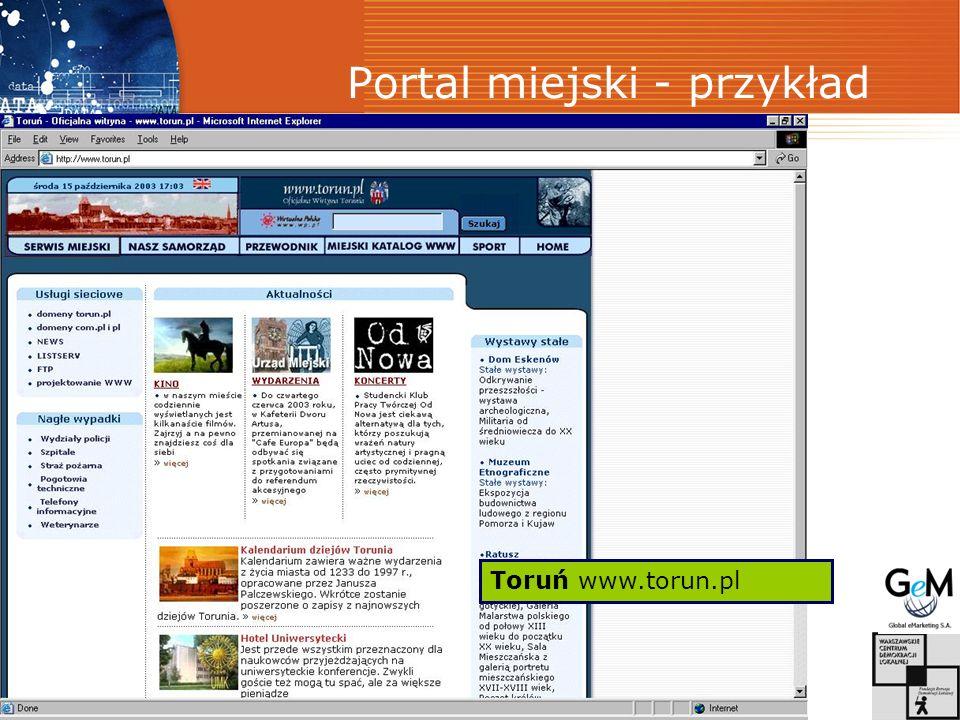 Portal miejski - przykład Toruń www.torun.pl