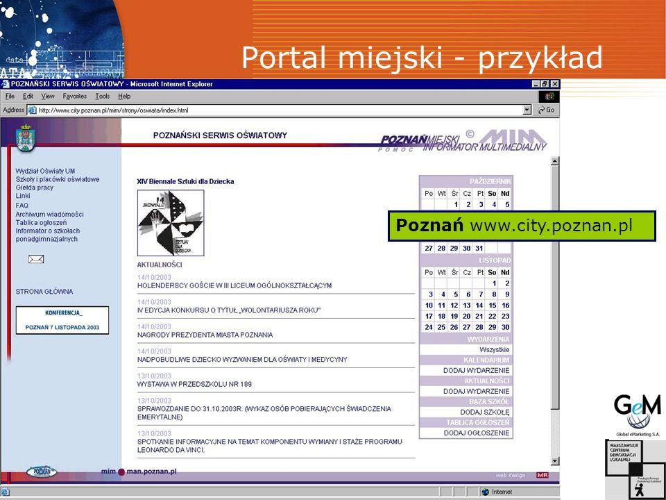 Portal miejski - przykład Poznań www.city.poznan.pl