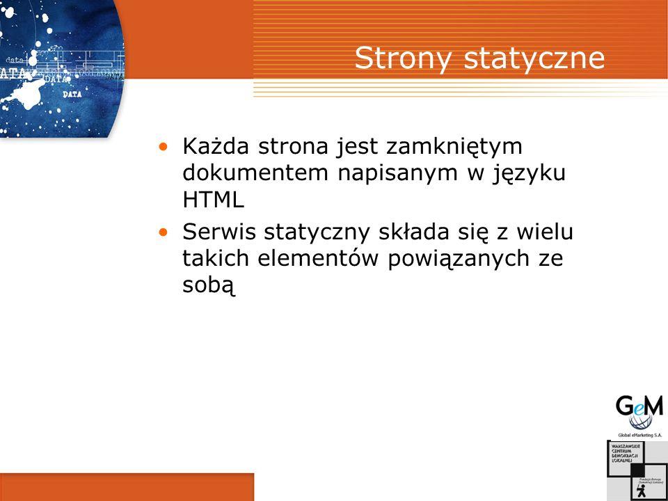 Strony statyczne Każda strona jest zamkniętym dokumentem napisanym w języku HTML Serwis statyczny składa się z wielu takich elementów powiązanych ze sobą
